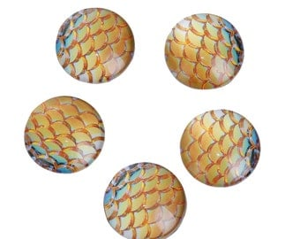 """10 MERMAID Fish Scales Glass Dome Cabochons, Golden Yellow, Round Glass Dome Seals Cabochons, 12mm  (about 1/2"""" diameter),  cab0518"""