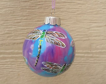 Hand painted ornament, Dragonfly Ornament, purple, fuchsia pink and blue 332