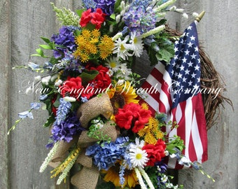 Patriotic Wreath, 4th of July Wreath, Memorial Day Wreath, Americana Wreath, Sunflower Wreath, Elegant Patriotic Wreath, XL Flag Wreath