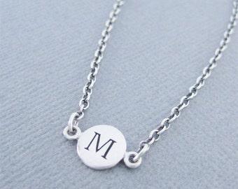 Silver Initial M Link Bracelet, M Bracelet, Silver Initial Bracelet, Silver Initial M Bracelet