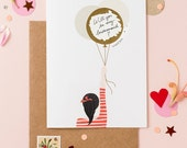 Wedding Card Scratch Off - Will You Be My Bridesmaid - Pop The Question - Girl With Balloons - Ponytail Black - Write Your Message