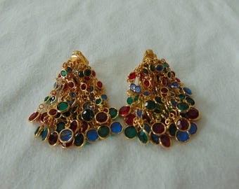 vintage swarovski flat crystals multi colored clip earrings gold plated cascade