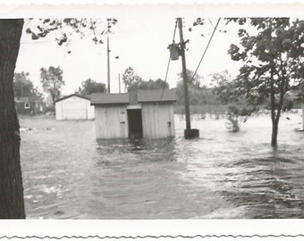 Utility Shed under Water from Epic Flood Flooded Streets and Homes Real Photograph Vintage  Photograph/Postcard Size Black and White