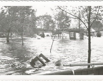 Flooded homes picture taken from boat Real Photograph Vintage Photograph/Postcard Size Black and White