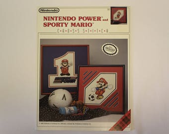 Nintendo Cross Stitch Pattern - Nintendo Power and Sporty Mario - Official Nintendo Licensed Product copyright 1990