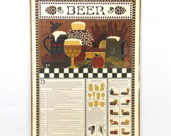vintage bar poster, beer, lithograph, 1980s, barware, vintage bar decor, ready to hang, retro, man cave, portal publications, rodger Johnson