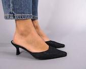 Kitten Heels Mule / 90s Black Lace Mules / Faux Leather Mules / Slip On Heels / Minimalist Shoes Δ size: 7M