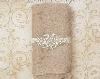 Newborn Cheesecloth Wrap AND Crystal Beaded Headband Set, Beige Cheesecloth Baby Wrap, Newborn Photography Wrap, Photography Prop, Baby Wrap