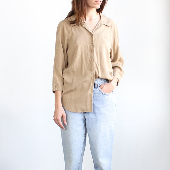 Vintage brown silk button up shirt by kaihovintage on etsy for White shirt brown buttons