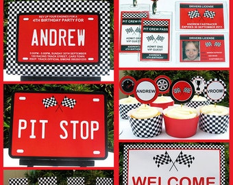 Race Car Theme Party Invitation & Decorations - full Printable Package - INSTANT DOWNLOAD with EDITABLE text - you personalize at home