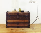 trunk coffee table,vintage trunk,wood trunk,trunk,storage trunk,antique trunk,storage box,steamer trunk,shipping crate circa 1900