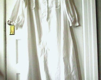Vintage Victorian Style White Cotton Nightgown,  L - XL