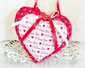 "Valentines Day Heart Ornament 5"" Door Hanger Heart, I Love You Decorative Heart Handmade CharlotteStyle Decorative Folk Art"