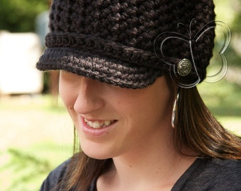 Oli J Womens Brimmed Beanie w/ Band & Buttons - PATTERN ONLY