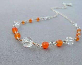 Rock Crystal Necklace with Orange Carnelian, Sterling Silver and Gold Fill