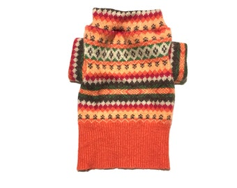 X Small Soft Orange, Red, Brown and Green Angora Blend Fair Isle Designer Dog Sweater, Pet Puppy Apparel, Girl and Boy Dog Clothes 0338