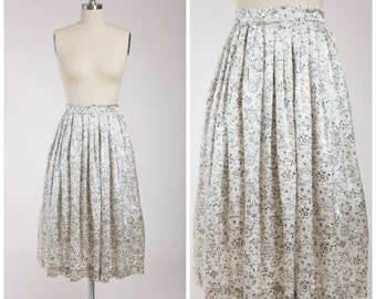 1950s Vintage Skirt • Searching for Silver • Floral Fan Print Satin 50s Pleated Skirt Size Small