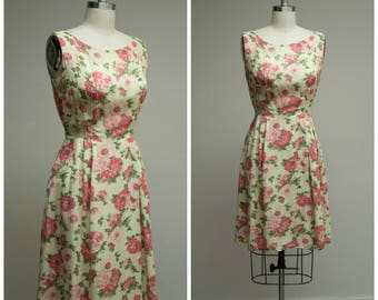 Vintage 1950s Dress • First Impression • Yellow Pink Floral 50s Dress Size Medium