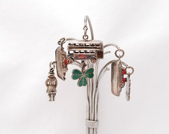 Antique 1950's Sterling Silver Tree Charm Brooch - British Theme Souvenir - 6 Charms - Yeoman Warder - London Trolley Bus - Cruise Ships