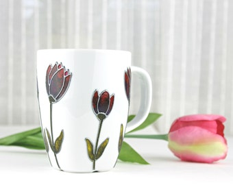 Hand Painted Porcelain Cup, Purple Tulips Design, Coffee Mug, Tea Cup, Tea Mug,  Painted Mug, Tulip Mug, Hand Painted Mug