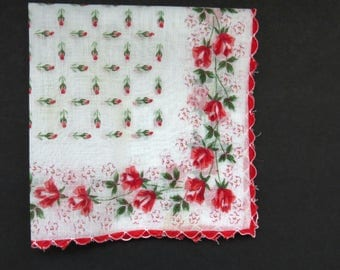 Red Roses Handkerchief - Vintage Floral Hanky Hankie - Scalloped Hem Rose Buds Center - Collectible Womens Accessories Wedding - Gift
