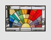 Beveled stained glass window panel rainbow arch geometric stained glass panel window hanging abstract suncatcher 0222 17 1/2 x 11 1/2