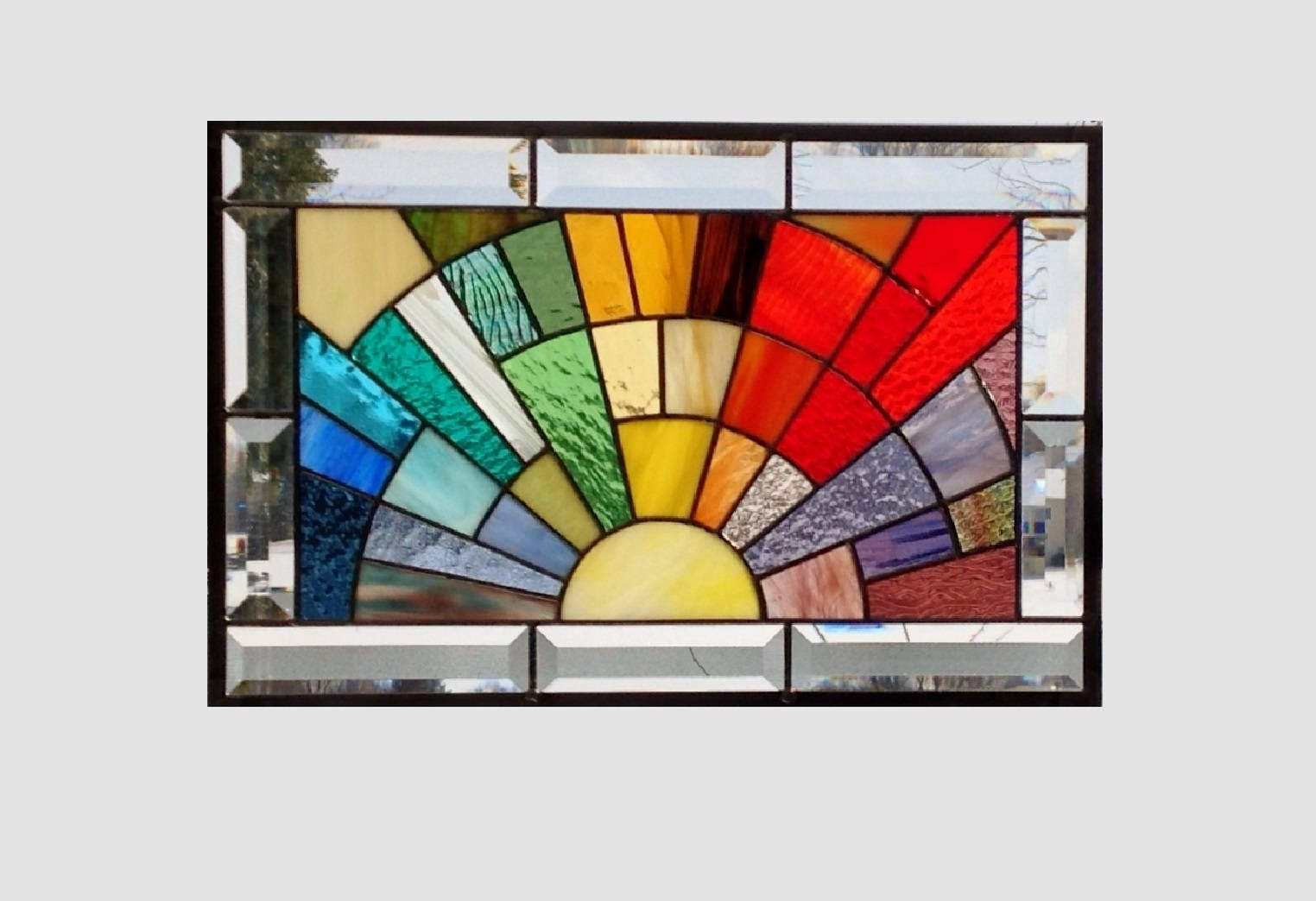 Beveled stained glass window panel rainbow arch geometric