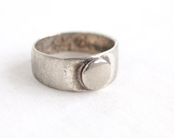 Men's Sterling Silver Ring Band Size 9 .75 Vintage Industrial Jewelry Stackable Dot Circle Primitive Design