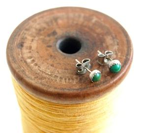 Green Stud Earrings Vintage Southwestern Sterling Silver Posts Southwest Minimalist Gift Under 25