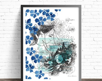 Girl illustration Print. Pen and ink drawing. Bedroom wall art. Girl print. Blue art print. Bedroom prints. Girl art.