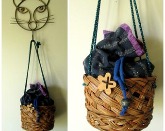basket purse, mori girl style fabric and straw handbag, drawstring bag, boho prairie cottage, floral flowers, spring summer