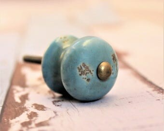 Ceramic Knob - Turquoise Knob - Drawer Pulls - Cabinet Knobs - Farmhouse Style Chic - Dresser Knobs - Shabby Chic - Fixer Upper Style