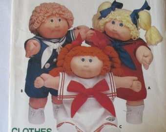 Vintage Cabbage Patch Kids  Butterick 353 girl and  boy clothes outfits doll pattern sailor dress shirt and shorts collar and tie uncut
