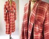 1930s Vintage Beacon Blanket Robe Coral Plaid