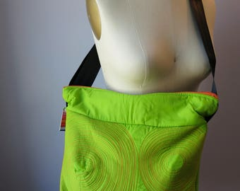 large zippered bag • washable • lightweight • durable • one of a kind • work. gym. play. travel. vegan • cross body bag • lime