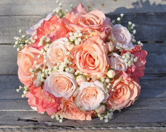 Peach Rose Wedding Bouquet, Silk Flower Bouquet made with Coral Roses, Peach Roses, Coral Dahlia's and Ivory Baby Breath.