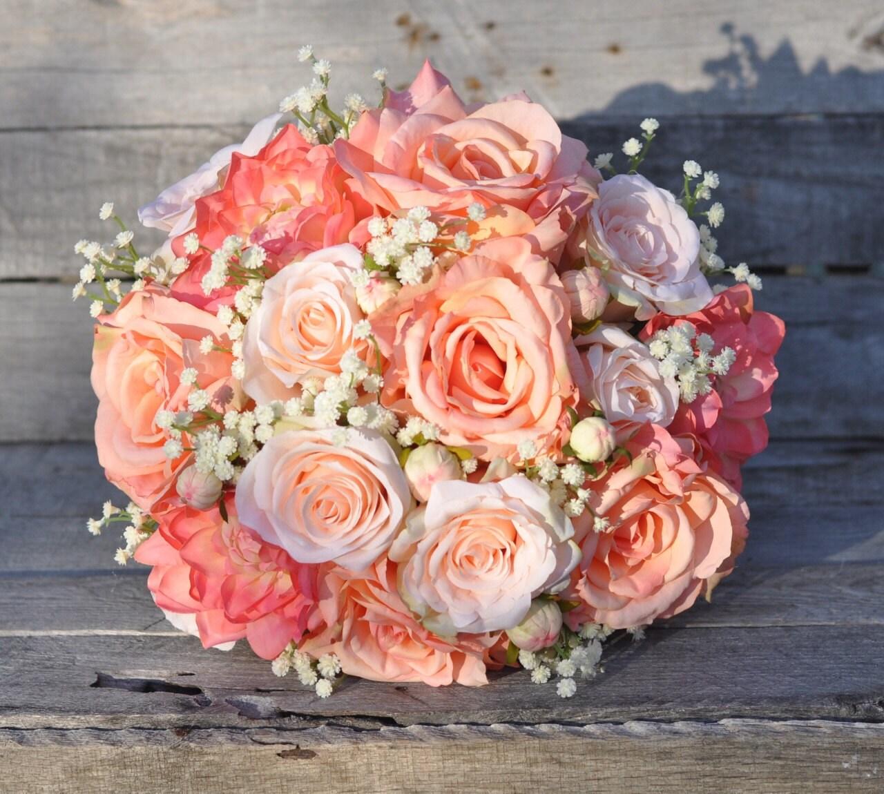 Wedding Flowers Names: Peach Rose Wedding Bouquet Silk Flower Bouquet Made With