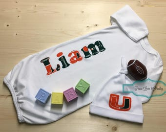 Personalized Baby Boy Gown and Hat Set, Miami Hurricanes Baby, Personalized Baby Boy, Newborn Gown, Baby Hurricanes Outfit, Baby Shower Gift