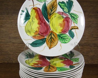 """Vintage Set of 10 Multi-Color 7-1/2"""" Fruit or Salad Serving Plates Hand Painted Ceramic Apples Pears Party BBQ Entertaining"""