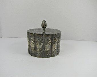 Vintage SILVERPLATE TRINKET BOX Stash Jewelry Holder Tarnished Patina Silver Plate