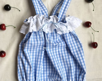 12/18 mo. size Blue and White Gingham Romper