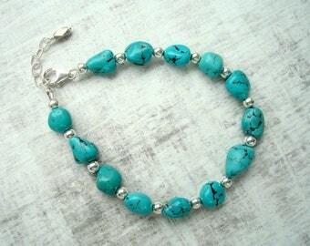 Turquoise bracelet - Sterling silver bracelet - Raw Turquoise - Summer jewelry - Turquoise jewellery - Boho jewellery - Gift for her