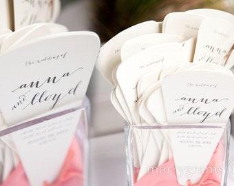 Custom Wedding Programs 4 Blade Petal Fan Program Satin Ribbon Customizable Elegant Programs Summer Wedding Choose Colors SS09 (Set of 100)