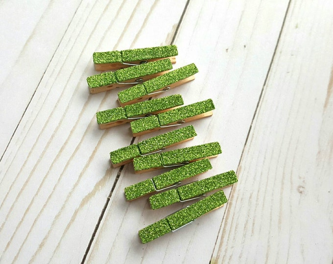 mini glitter clothespins celery green greenery mini clothespins wedding decor party