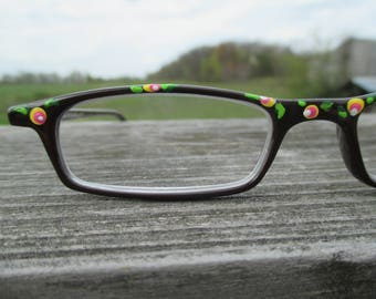 Painted reading glasses, yellow pink flower, 2.0 strength,  hand painted readers, spring reading glasses, pink yellow green reading glasses