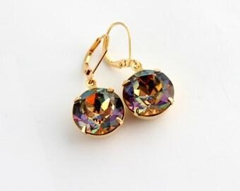 Medium Vitrail Swarovski earrings, rainbow earrings, round earrings, Vitrail earrings, Prom earrings, Grad earrings,multi-color earrings MV1