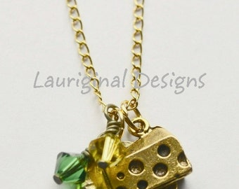 Cheesehead necklace - Packer necklace - Green Bay Packer necklace - Gold plated