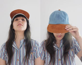 Vintage 90s Two Tone 6 Panel Denim Suede hat OS