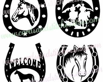 Horses SVG - Horseshoes SVG - Western SVG - Digital Cutting File - Silhouette Cut - Instant Download - Cricut Cut - Svg, Dxf, Jpg, Eps, Png