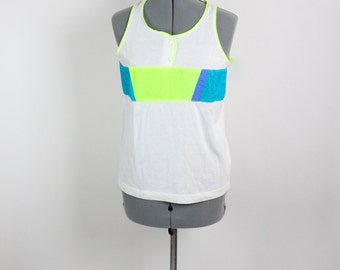 Vintage Retro Active Neon Sports Matching Tanks Top and Shorts Sweat Suit Set Small